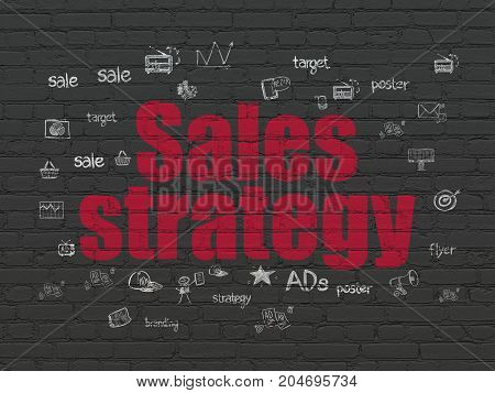 Advertising concept: Painted red text Sales Strategy on Black Brick wall background with  Hand Drawn Marketing Icons