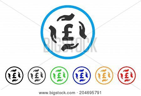 Pound Care Hands rounded icon. Style is a flat pound care hands grey symbol inside light blue circle with black, gray, green, blue, red, orange versions.