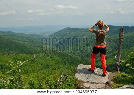Hikings along tourist trails in the mountains Beskid in Poland