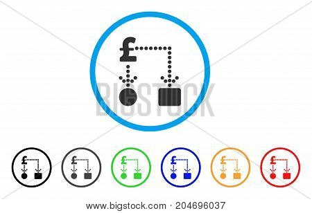 Pound Cashflow rounded icon. Style is a flat pound cashflow grey symbol inside light blue circle with black, gray, green, blue, red, orange versions. Vector designed for web and software interfaces.