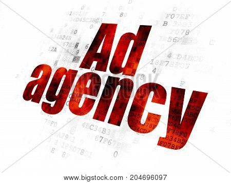 Marketing concept: Pixelated red text Ad Agency on Digital background