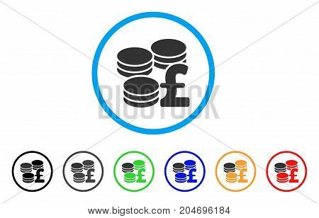 Pound Coins rounded icon. Style is a flat pound coins gray symbol inside light blue circle with black, gray, green, blue, red, orange versions. Vector designed for web and software interfaces.