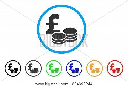 Pound Coins rounded icon. Style is a flat pound coins grey symbol inside light blue circle with black, gray, green, blue, red, orange color versions. Vector designed for web and software interfaces.