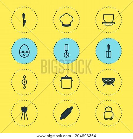 Editable Pack Of Kitchen Dagger, Breakfast, Soup Pan And Other Elements.  Vector Illustration Of 12 Restaurant Icons.
