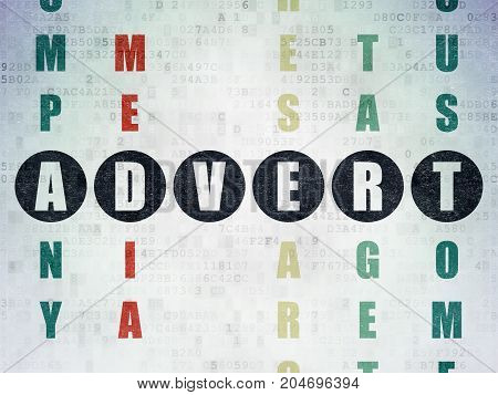 Marketing concept: Painted black word Advert in solving Crossword Puzzle on Digital Data Paper background