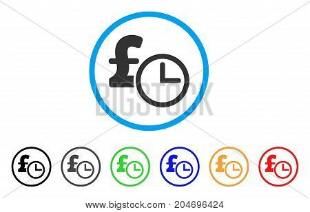 Pound Credit rounded icon. Style is a flat pound credit grey symbol inside light blue circle with black, gray, green, blue, red, orange color versions. Vector designed for web and software interfaces.