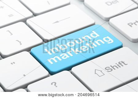 Advertising concept: computer keyboard with word Inbound Marketing, selected focus on enter button background, 3D rendering