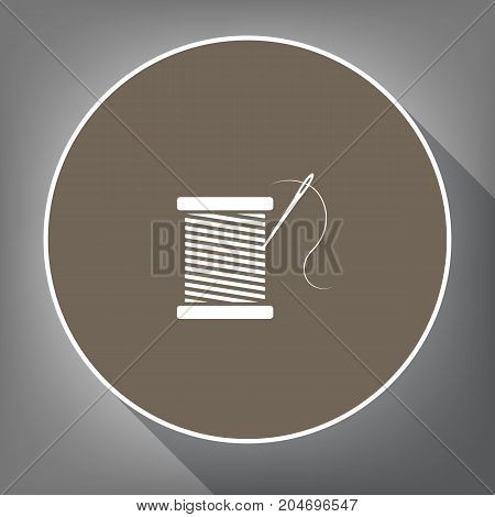 Thread with needle sign illustration. Vector. White icon on brown circle with white contour and long shadow at gray background. Like top view on postament.