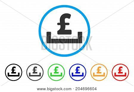 Pound Deposit Placement rounded icon. Style is a flat pound deposit placement gray symbol inside light blue circle with black, gray, green, blue, red, orange variants.