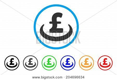 Pound Deposit Placement rounded icon. Style is a flat pound deposit placement grey symbol inside light blue circle with black, gray, green, blue, red, orange versions.
