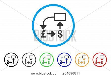 Pound Dollar Flow Chart rounded icon. Style is a flat pound dollar flow chart grey symbol inside light blue circle with black, gray, green, blue, red, orange variants.