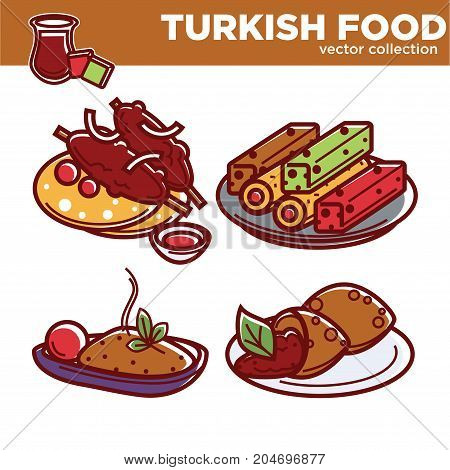 Exotic Turkish food vector illustrations collection with dishes on plates. Delicious kofta with pita bread, sweet lokum, hot nutritious pilaf and falafel kofte with meat filling on white background.
