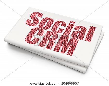 Marketing concept: Pixelated red text Social CRM on Blank Newspaper background, 3D rendering