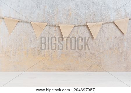 Background With Garland Of Small Paper Flags