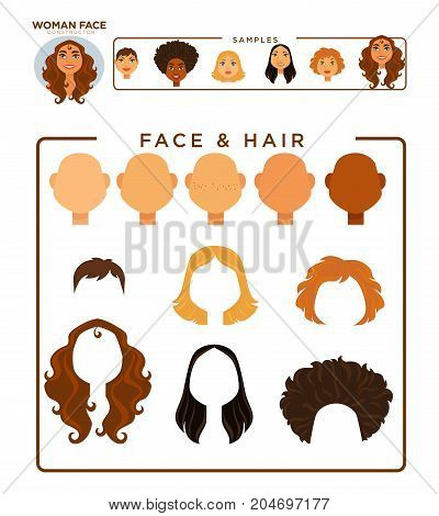 Woman face constructor with hair and face samples isolated cartoon vector illustrations on white background. Various skin tones, straight and curly, short and long hairstyles of all natural colors.