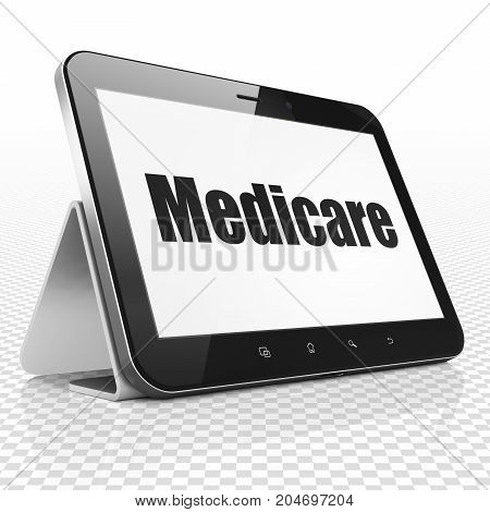 Health concept: Tablet Computer with black text Medicare on display, 3D rendering