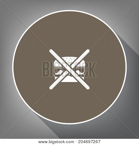 No burger sign. Vector. White icon on brown circle with white contour and long shadow at gray background. Like top view on postament.