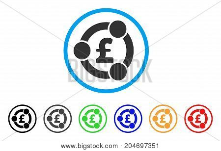 Pound Financial Collaboration rounded icon. Style is a flat pound financial collaboration grey symbol inside light blue circle with black, gray, green, blue, red, orange versions.