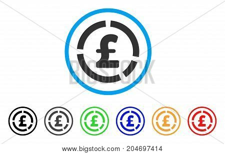 Pound Financial Diagram rounded icon. Style is a flat pound financial diagram gray symbol inside light blue circle with black, gray, green, blue, red, orange variants.