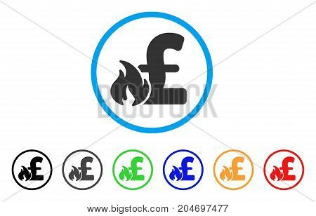 Pound Financial Fire rounded icon. Style is a flat pound financial fire gray symbol inside light blue circle with black, gray, green, blue, red, orange color versions.