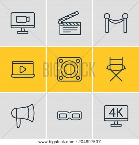 Editable Pack Of Spectacles, Shooting Seat, Cinema Fence And Other Elements.  Vector Illustration Of 9 Film Icons.