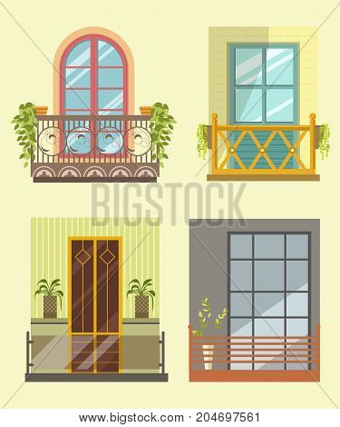 Wide windows with small cozy balcony in several styles with swirly elements, wooden fence, glass partition, fresh natural plants in pots isolated cartoon vector illustrations on pastel background.