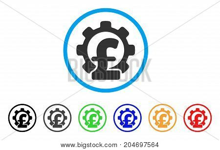 Pound Financial Industry rounded icon. Style is a flat pound financial industry grey symbol inside light blue circle with black, gray, green, blue, red, orange versions.
