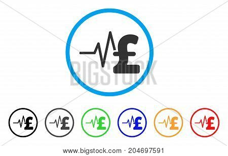 Pound Financial Pulse rounded icon. Style is a flat pound financial pulse gray symbol inside light blue circle with black, gray, green, blue, red, orange color versions.