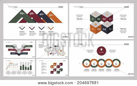 Infographic design set can be used for workflow layout, diagram, annual report, presentation, web design. Business and production concept with process, line, bar and percentage charts.