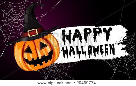 Scary Jack O Lantern halloween pumpkin on spider web background with witch hat and with handwritten happy halloween vector