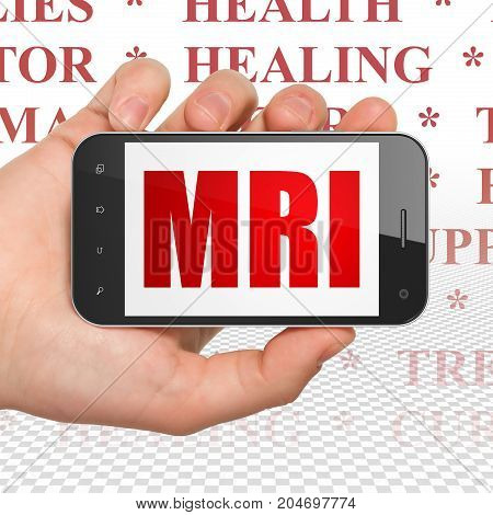 Health concept: Hand Holding Smartphone with  red text MRI on display,  Tag Cloud background, 3D rendering