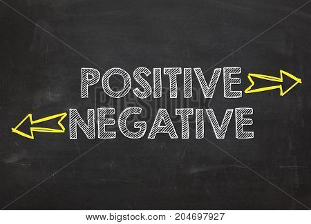 Text Positive and Negative. Positive and Negative information concept on blackboard background. Business Concept.