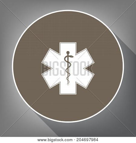 Medical symbol of the Emergency or Star of Life with border. Vector. White icon on brown circle with white contour and long shadow at gray background. Like top view on postament.