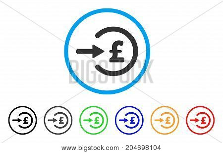 Pound Income rounded icon. Style is a flat pound income gray symbol inside light blue circle with black, gray, green, blue, red, orange variants. Vector designed for web and software interfaces.