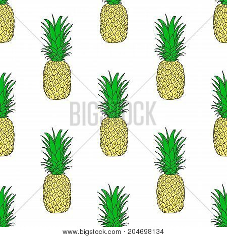 Seamless pattern with repetitive Pineapple, exotic fruit. Hand drawn, vector illustration.