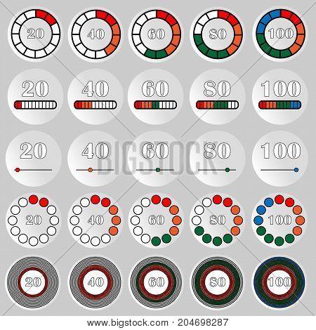 Set of different indicators. Vector eps10 illustration.