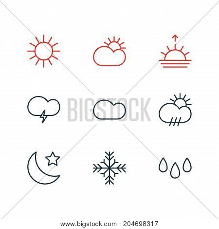 Editable Pack Of Fulminant, Rain, Sunlight And Other Elements.  Vector Illustration Of 9 Atmosphere Icons.