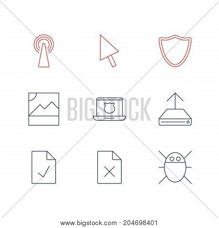 Editable Pack Of Safeguard, Hdd Sync, Delete Data And Other Elements.  Vector Illustration Of 9 Network Icons.