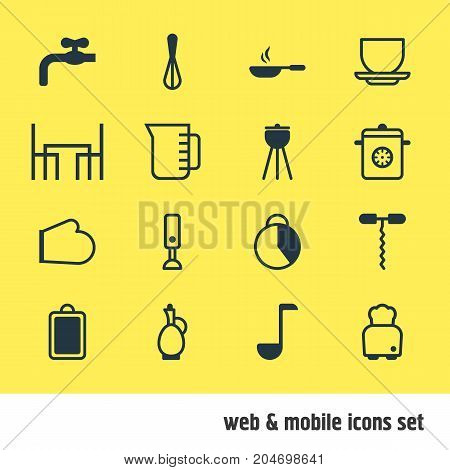 Editable Pack Of Mixer, Steamer, Timekeeper And Other Elements.  Vector Illustration Of 16 Kitchenware Icons.