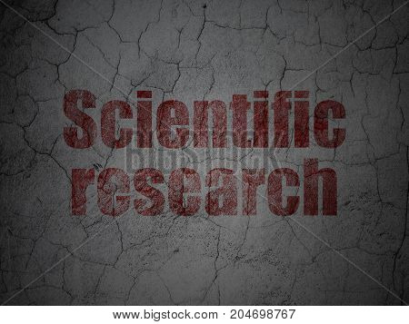 Science concept: Red Scientific Research on grunge textured concrete wall background