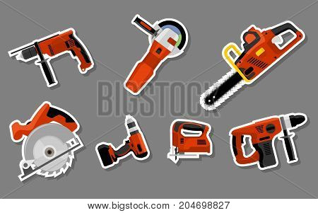 Collection of tool stickers drill, hammer, screwdriver, jigsaw, electric saw, angle grinder and circular electric saw