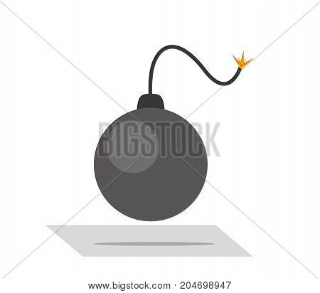 Black burning bomb ready to detonation. Flat style illustration.