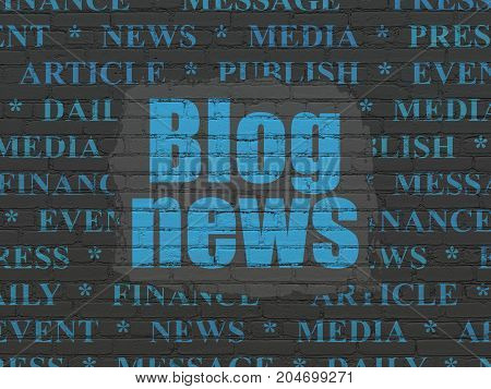 News concept: Painted blue text Blog News on Black Brick wall background with  Tag Cloud