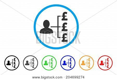 Pound Payer Relations rounded icon. Style is a flat pound payer relations gray symbol inside light blue circle with black, gray, green, blue, red, orange color versions.