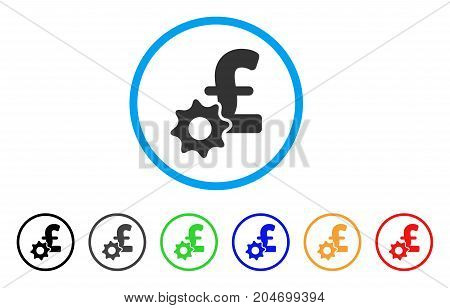 Pound Payment Options rounded icon. Style is a flat pound payment options grey symbol inside light blue circle with black, gray, green, blue, red, orange versions.