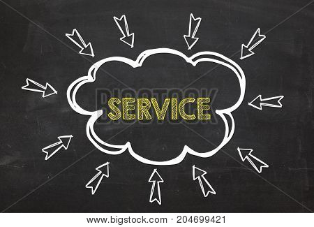 Cloud and arrow with text Service. Service information concept on blackboard background. Business Concept.