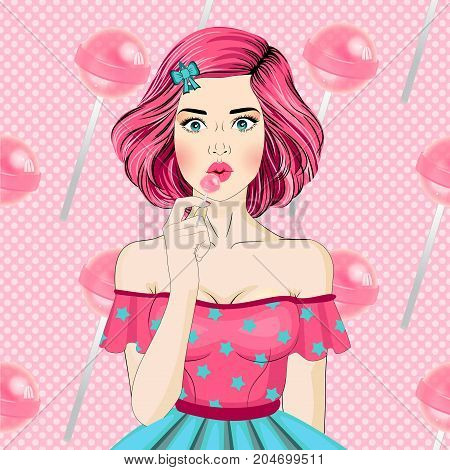 Sweet young sexy girl licking pink lollipop on background of candy. Advertising poster. Pop Art girl. Party invitation. Birthday greeting card. Advertising poster.