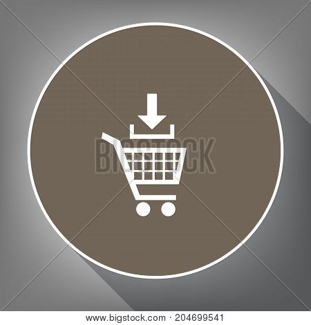 Add to Shopping cart sign. Vector. White icon on brown circle with white contour and long shadow at gray background. Like top view on postament.