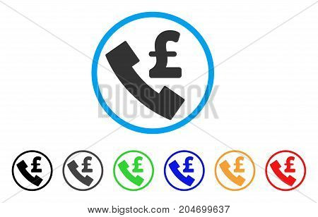 Pound Payphone rounded icon. Style is a flat pound payphone gray symbol inside light blue circle with black, gray, green, blue, red, orange versions. Vector designed for web and software interfaces.