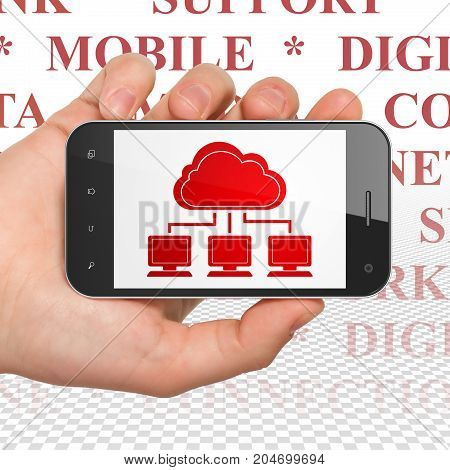 Cloud computing concept: Hand Holding Smartphone with  red Cloud Network icon on display,  Tag Cloud background, 3D rendering
